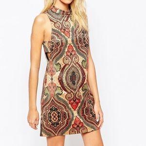 Faux suede paisley print dress